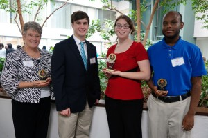 Photo, Phi Beta Lambda students, State Conference  from left to right: Lynn Satterfield, Sophomore, Business Administration, 2nd place, Client Services Taylor Smith, Freshman, Business Administration, Job Interview  Ashley Ramsey, Junior, Accounting and Business Administration, 1st place, Microeconomics Justin Walker, Junior, Business Administration, 2nd place, Personal Finance
