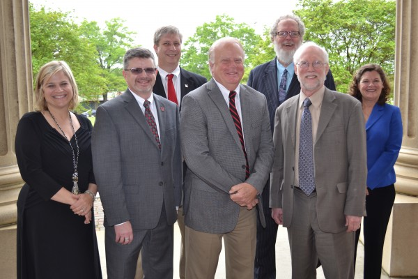 (From left to right, front row): Amy B. Wood, PhD, LRU Asst. Provost & Dean of Graduate and Adult Programs; Timothy G. Elston, PhD, Newberry VP for Academic Affairs & Dean of the College; Maurice W. Scherrens, EdD, JD, Newberry President; Wayne B. Powell, PhD, LRU President. (Back row): Sid Parrish, PhD, Newberry Executive Director of Institutional Effectiveness; Larry M. Hall, PhD, LRU Executive VP for Academic Affairs & University Provost; and Lou Ann Woolman, PhD, LRU Program Coordinator of Human Services