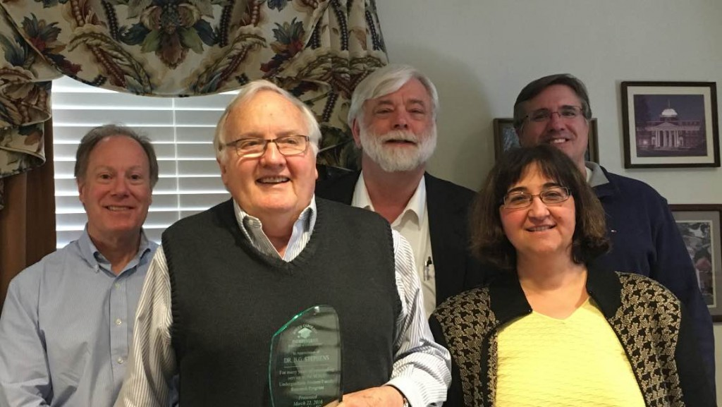 Dr. B. G. Stephens, professor emeritus at Wofford College, is honored for his 20+ years of service in the evaluation team for the SCICU Undergraduate Student/Faculty Research Program.