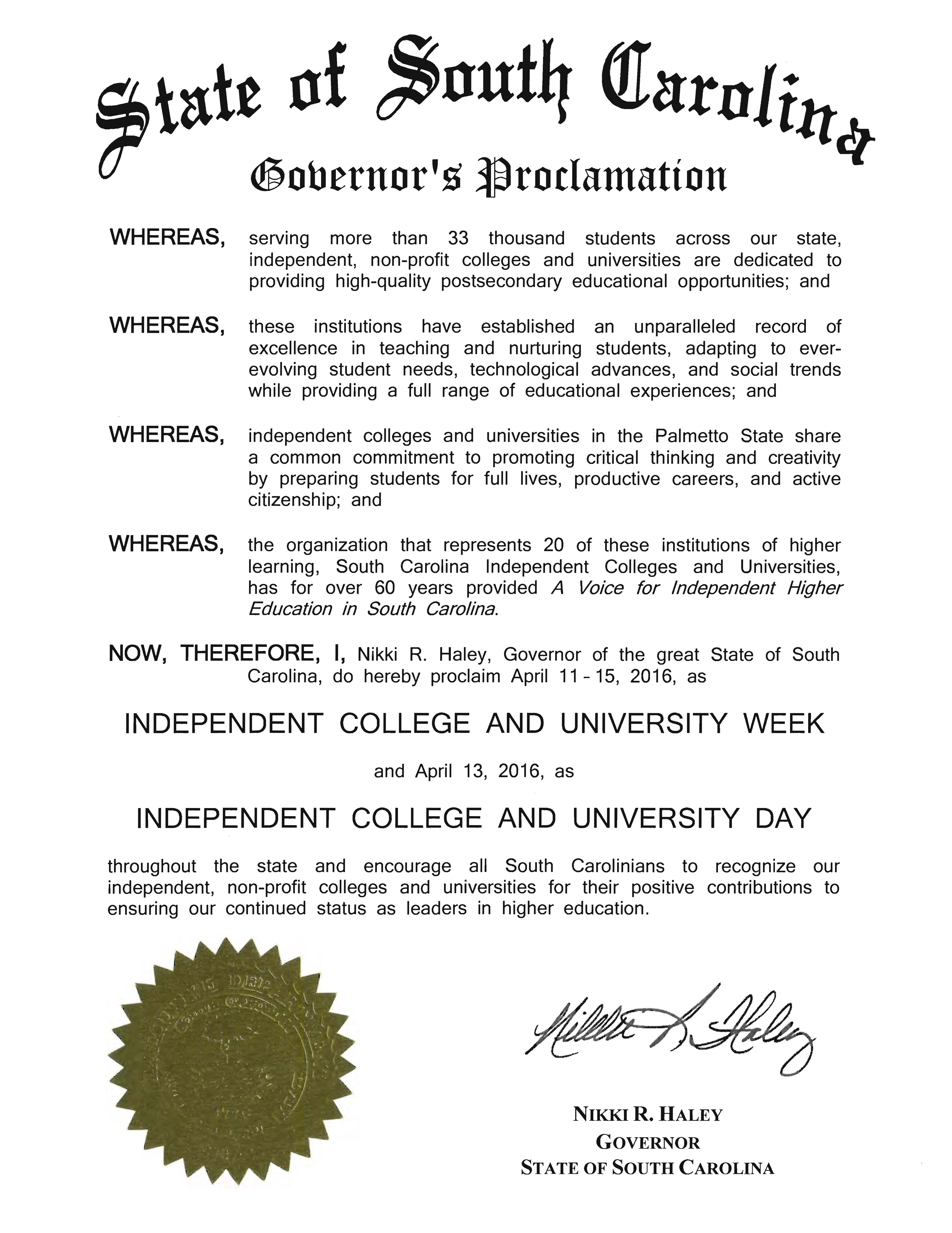 Governor Haley Proclamation - 2016 Independent College and University Week