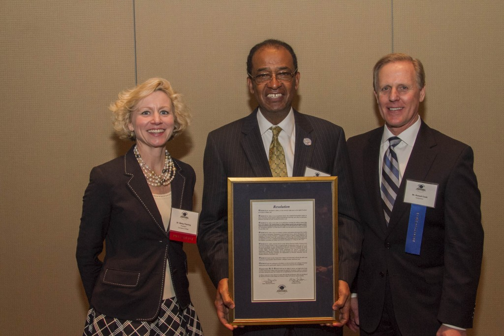 (L-R: Dr. Betsy Fleming, President - Converse College; Dr. Cleveland Sellers, President - Voorhees College; Russell Cook, Chair-Elect - SCICU