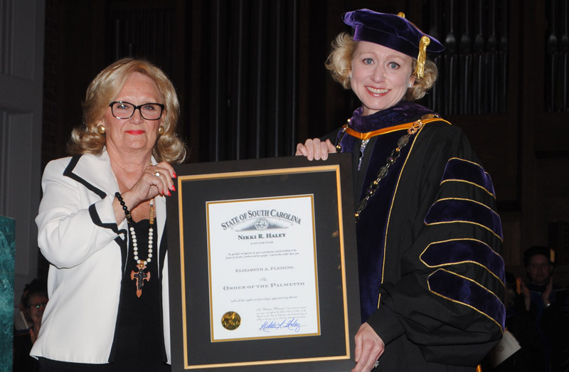 The Order of the Palmetto was presented to Converse College Betsty Fleming during Converse's commencement ceremony on May 14, 2016.