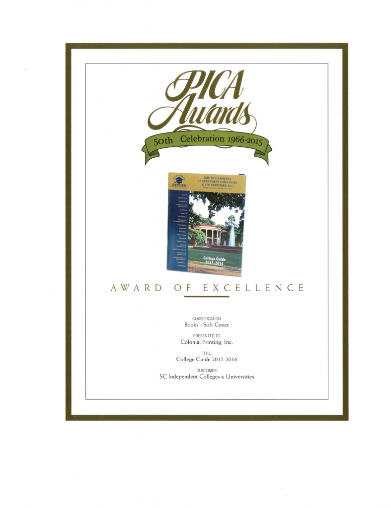 SCICU College Guide 2016 PICA Award