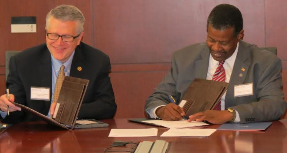 (L-R) Coker President Robert Wyatt and Midlands Tech President Ronald Rhames