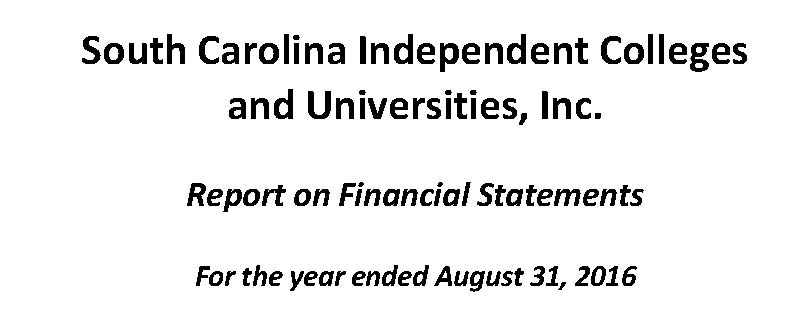 SCICU FINANCIAL STATEMENT for fiscal year ending AUGUST 31 2016 - thumbnail