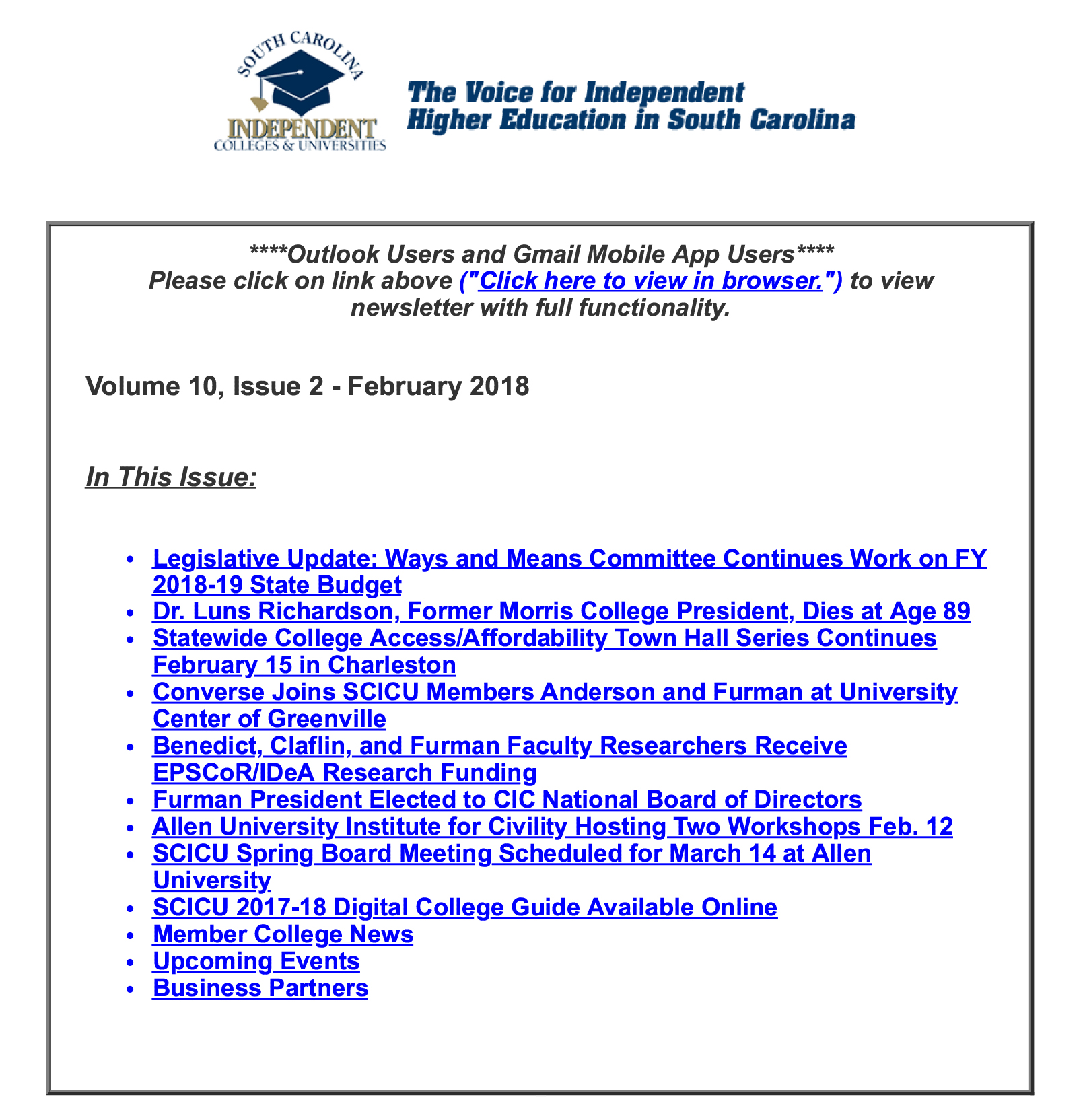 SCICU News and Notes February 2018 table of contents