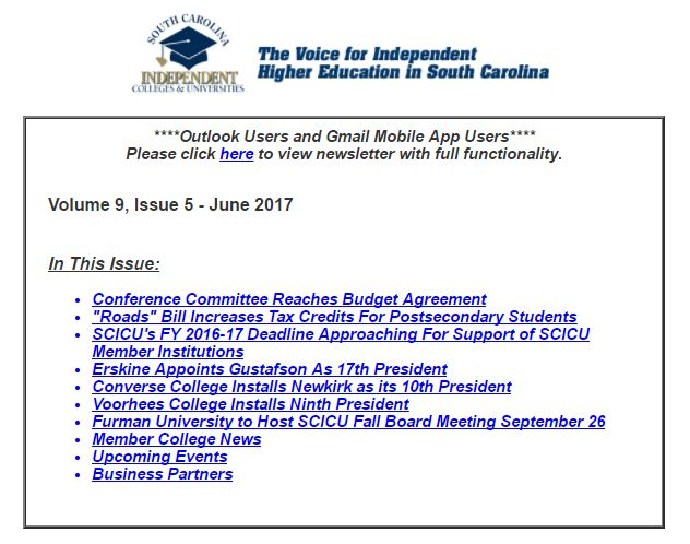 SCICU News and Notes June 2017 table of contents