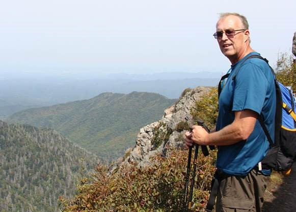 Dr. Jonathan Young, Southern Wesleyan business Professor, at Charlie's Bunion on the Appalachian Trail.