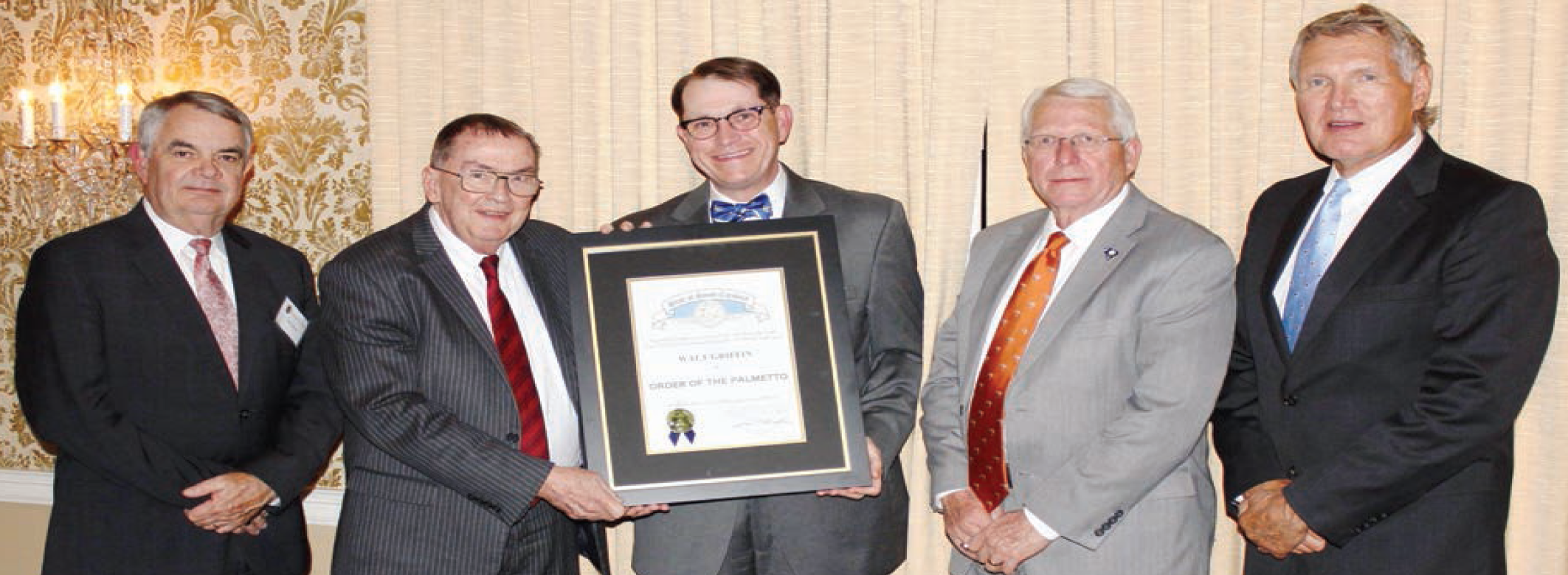 Outgoing Limestone College President Dr. Walt Griffin was presented with The Order of The Palmetto on October 26, 2017 at the Piedmont Club in Spartanburg.