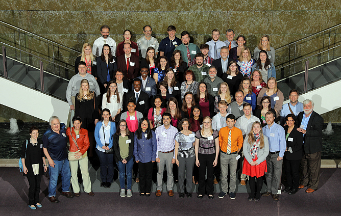 Group photo - Student researchers, faculty mentors, and sponsors at the February 22, 2018 SCICU Research Symposium at Milliken & Company headquarters, Spartanburg, SC.