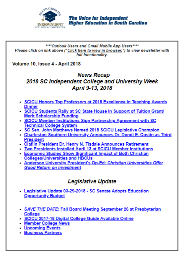 SCICU News and Notes April 2018 table of contents