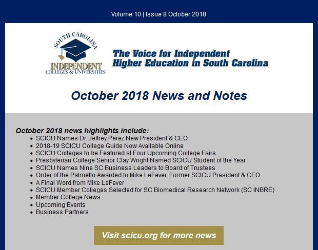 SCICU News and Notes May 2018 table of contents