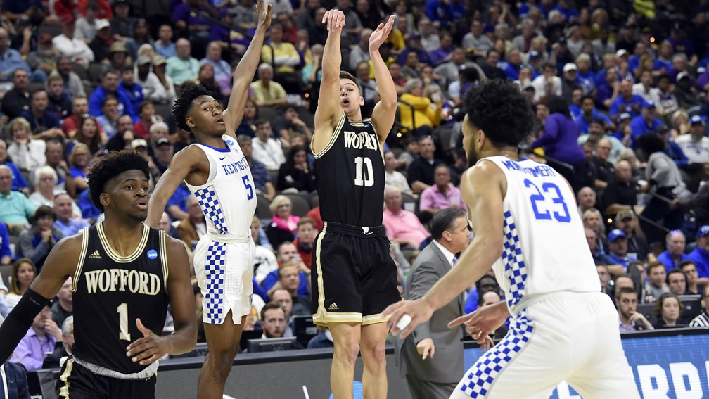Wofford's Nathan Hoover posted 19 points against the Kentucky Wildcats in the second round of the 2019 NCAA tournament.