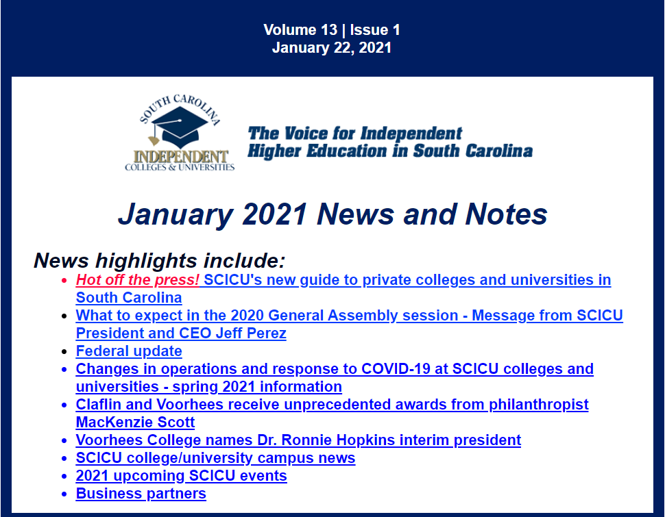 SCICU News and Notes January 2021 table of contents